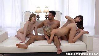 horny mormon chicks worship a thick cock