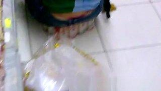Panties of brunette brazilian in supermarket