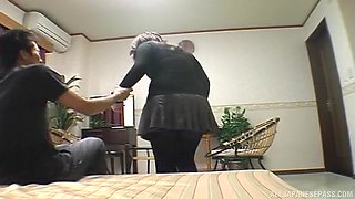 Hot Japanese wife in black pantyhose fucking hard with her husband