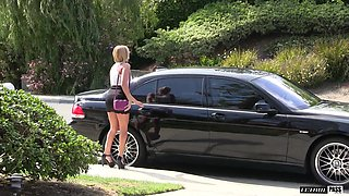 Kate England covered in semen after being fucked in a car