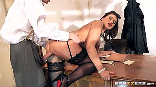 Thirsting boss fucks eye catching brunette MILF Anna Polina in the office