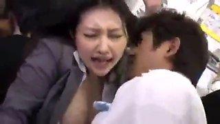 beautiful girl groped in a bus
