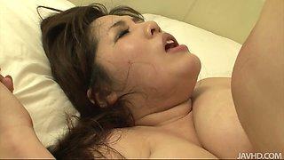 Arousing curvy Japanese babe Yume Sazanami gets pounded in doggy pose