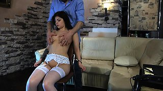 Slave girl is dominated by whip and clothespins.