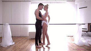 Pretty light haired dancer Katy Rose desires to be fucked from behind