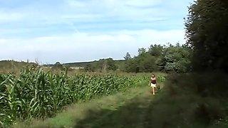 Opa laat zich neuken in het veld