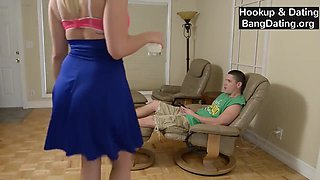 Amateur brother and sister having fun