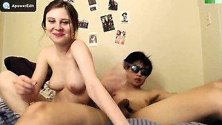 Scrawny teen hottie gives a gloryhole Handjob and blowjob