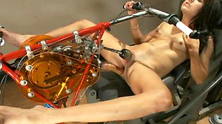 Tiny Brunette Teen Sits On Machine & Screams Her Way To Orgasm