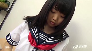 Japanese babe, Natsuno Himawari is wearing her school uniform while getting fucked and sucking dick