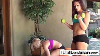 Sexy blonde licks her workout buddy&#039s wet pussy