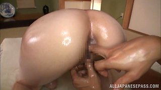 Asian babe Iroha Sagara gets her body oiled and screwed POV