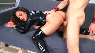 Asian dominatrix in latex outfit copulates with client's son