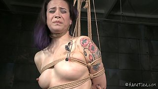 Big bottomed pallid brunette is fixed in extreme position by her master