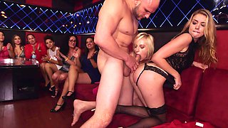 Bachelorette party gets crazy with the girls fucking the stripper