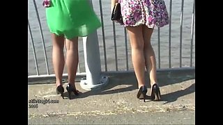 High heeled babes make your shoe fetish hard in sexy nylons