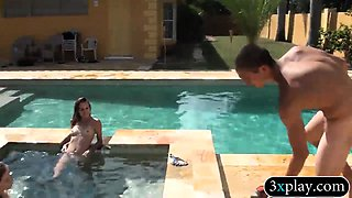 Slender babes get their wet pussies pounded by the pool