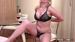 Blonde babe does a great striptease performance