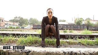 Asian black nylon queen aiss