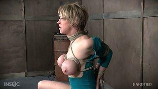 Bosomy MILFie blonde hottie is ready for some hard bondage session