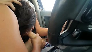 Naughty amateur teen delivers a special blowjob in the car