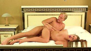 Lovely virgin enjoys pussy licking before defloration