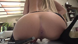 russian blonde katrin tequila dildoing her asshole