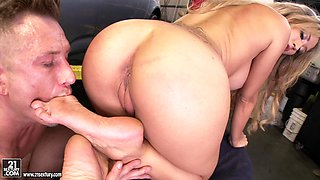 Busty Blonde Footjobs Mechanic and Gets Fucked Hard in the Garage