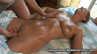 Blondes Lesbians in the massage parlor enjoy each other's hot bodies.