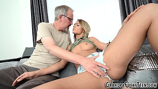 Teen gets grandpas jizz