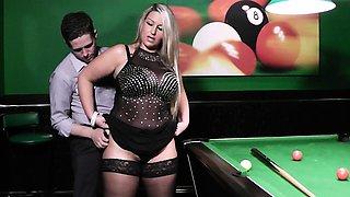 Blonde bbw in nylons gets slammed on pool table