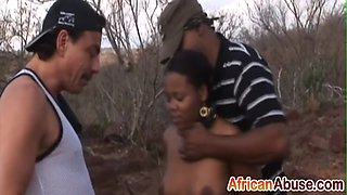 Slave black slut is getting abused in the African wilds