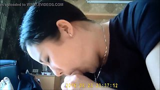 Striking Korean milf gives a nice massage and a hot blowjob