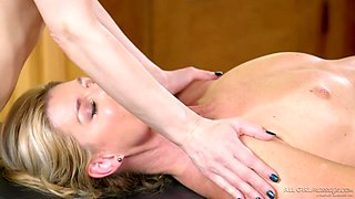 Intimate massage ends with passionate lesbian sex in 69 position
