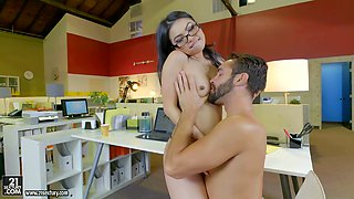 Gorgeous wild nerdy brunette secretary gets her pussy banged nonstop