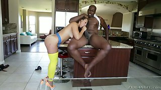 Horny black hubby doggy fucks his super sexy white GF at kitchen hard
