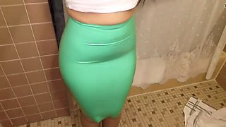 Latex try on teal pencil skirt
