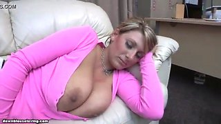 Downblouse sleeping on couch