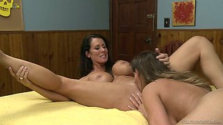Curvy milf Reagan Foxx is licking tasty looking stepdaughter's pussy