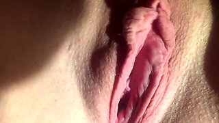 Beautiful big clit labia pussy play pull pinch close up wife
