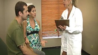 Lucky guy gets a double handjob from his wife and a blonde doctor