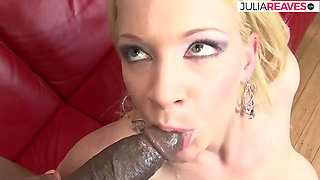 Pretty blonde does her 1st fuck with a black dick