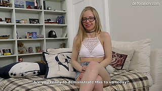 Delicious untouched pussy of nerdy 19 yo teen in glasses Alexandra