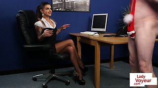Inked office voyeur gives jerkoffinstructions