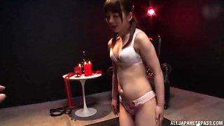 Femdom fetish scene with Arimura Nozomi spanking and riding her slave
