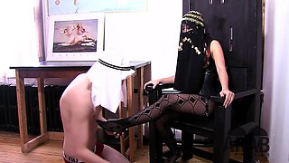 Asian Mistress shows Arab Slave how to worship his goddess