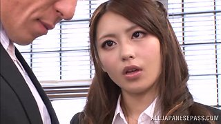 Ayu Sakurai enjoys MMF threesome banging in an office