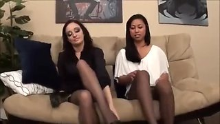 Double Heelplay And Pantyhose Feet And Soles Tease