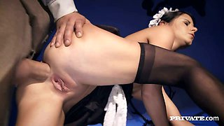Tempting brunette Italian maid gets pounded doggy style by voracious old landlord