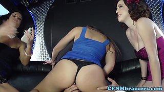 Busty cfnm femdoms cockriding on bus